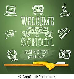 livre scolaire, globe, texte, accueil, -, dos, chapeau repére, cahier, dessins, autobus, science, text., endroit, message, bulb., ton, tableau