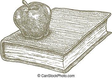 livre scolaire, pomme, dessin