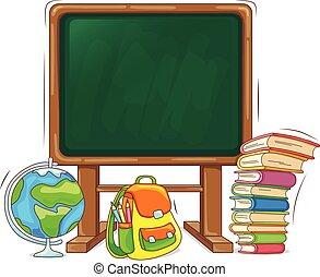 livre scolaire, sac à dos, globe, planche