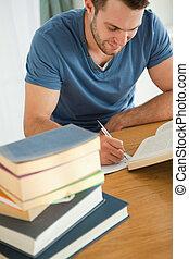 livre, sourire, rapport, étudiant