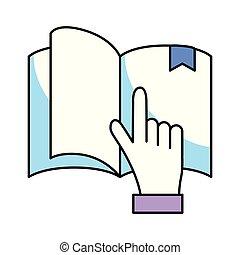 livre, tenant main