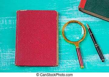 livre texte, magnifier, bois, verre