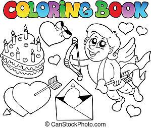 livre, thème, coloration, 4, valentin