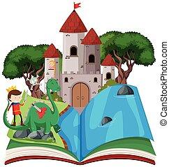 livre, thème, ouvert, conte fées
