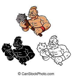 livre, troll, coloration, mascotte, caracter