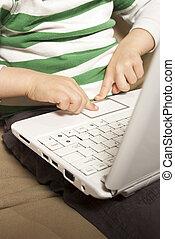 livre, usages, touchpad, jeune garçon, filet