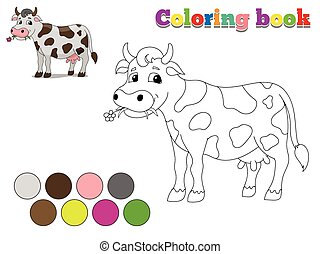 livre, vache, jeu, coloration, disposition, gosses