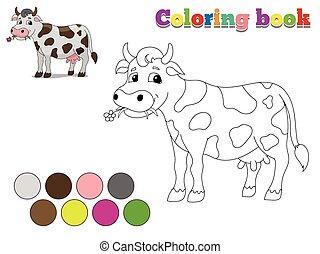 livre, vache, jeu, coloration, disposition, gosses