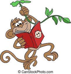 livre, vecteur, pendre, singe, dessin animé, illustration, lecture