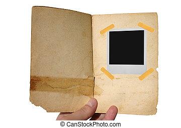 livre, vieilli, ouvert