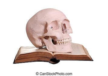 livre, vieux, crâne