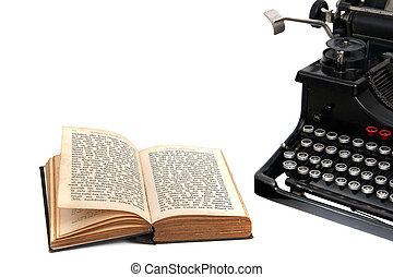 livre, vieux, machine écrire