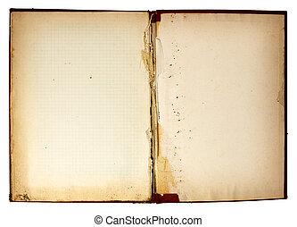 livre, vieux, parties