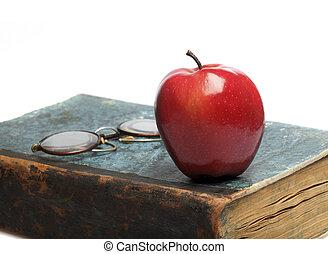 livre, vieux, pomme, rouges