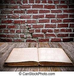 livre, vieux, table bois, ouvert