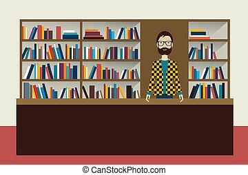 livreiro, man., illustration., livraria, apartamento