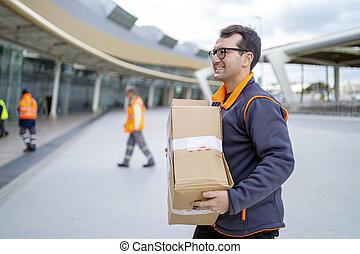 livrer, courrier, professionnel, secteur, business, paquet