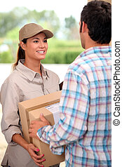 livrer, femme, courrier, paquet