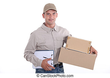 livrer, homme, paquet