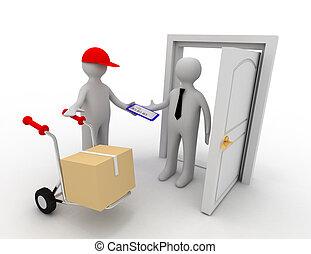 livrer, ouvrier, 3d, paquet