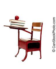 livres école, blanc rouge, bureau