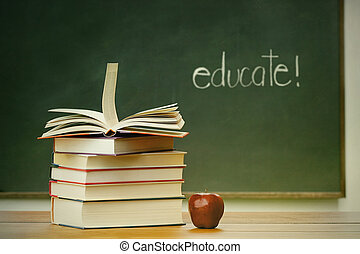 livres école, pomme, bureau