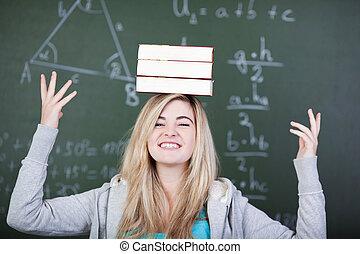 livres, équilibrage, trois, étudiant