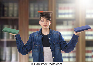 livres, étudiant, bibliothèque