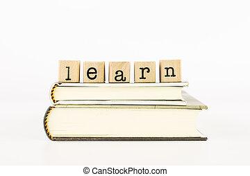 livres, apprendre, pile, rédaction