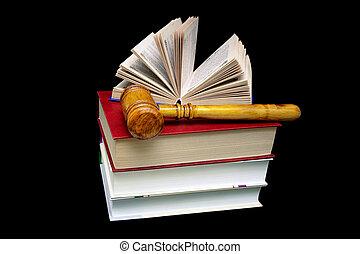 livres, arrière-plan noir, juge, marteau, pile
