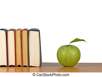 livres, bureau, pomme