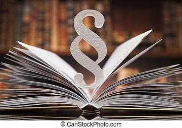 livres, concept, paragraphe, salle audience, justice, droit & loi