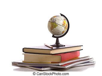 livres, crayon, école, blanc, globe