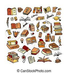 livres, croquis, mettez stylique, ton