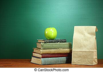 livres, déjeuner, prof, pomme, bureau