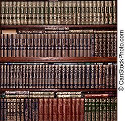 livres, dans, or, couverture, dans, bibliothèque