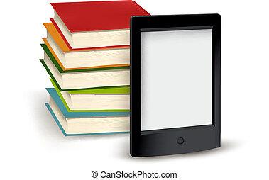 livres, e-livre, pile