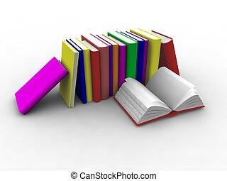livres, empilé, 3d