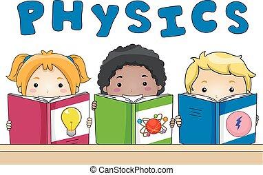 livres, gosses, physique, illustration
