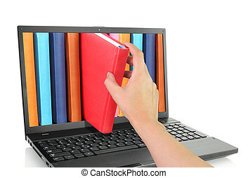 livres, informatique, ordinateur portable, coloré
