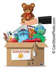 livres, jouets, boîte, vêtements, entiers, donation, appareils