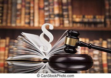 livres loi, maillet, de, les, juge, salle audience, fond