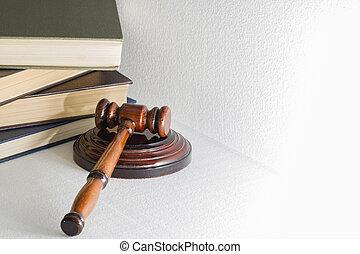 livres, lumière, image, arrière-plan., tas, fond, juge, marteau