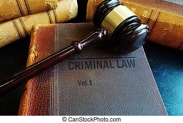 livres, marteau, criminel, droit & loi, vieux