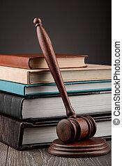 livres, marteau, table, bois, juge