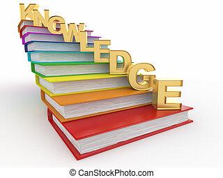 livres, mot, connaissance, escalier