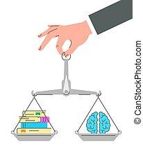 livres, papier, cerveau, balances, équilibre