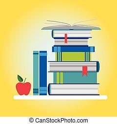 livres, pile, coloré, icône