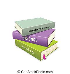 livres, pile, coloré