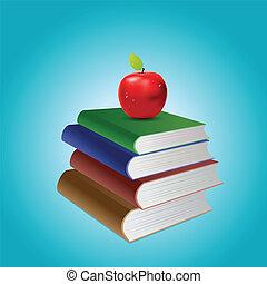 livres, pile, pomme